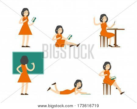 Flat studying woman set in different poses writing on notepad and blackboard isolated vector illustration