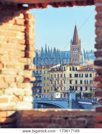 historical quarter of Verona, view from Castel Vecchio bridge to Ponte Della Vittoria, Italy