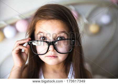 Portrait of beautiful asian girl wearing glasses