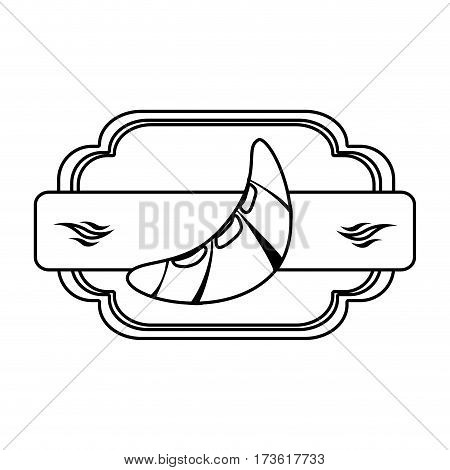 silhouette heraldic frame with plaque decorative and croissant bread vector illustration