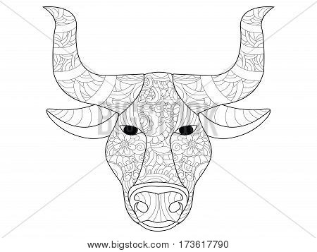 Cow head anti-stress coloring book for adults. Black and white hand drawn vector. doodle print with ethnic patterns. Zen tangle style for tattoo, shirt design, logo, sign