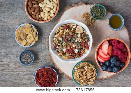 Paleo style breakfast: gluten free and oat free muesli made with nuts dried berries and fruits top view