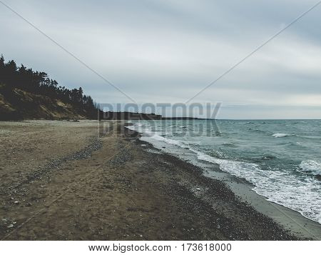 landscape on the shore of the Baltic Sea with calm shades of gray, cloudy weather conditions, from left mound where the pine trees, the horizon line