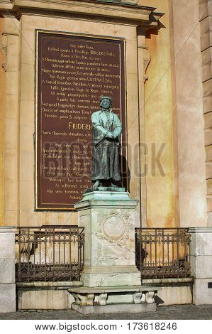 STOCKHOLM SWEDEN - AUGUST 19 2016: Statue of the writer Olaus Petri in Storkyrkan on Gamla stan statue by the Swedish sculptor Theodor Lundberg in 1898. in Stockholm Sweden on August 19 2016.