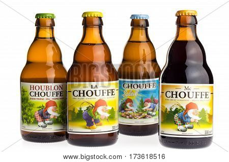 GRONINGEN, NETHERLANDS - FEBRUARY 26, 2017: Bottles of Belgian Chouffe Houblon, Soleil, MC Chouffe and blonde beer isolated on a white background