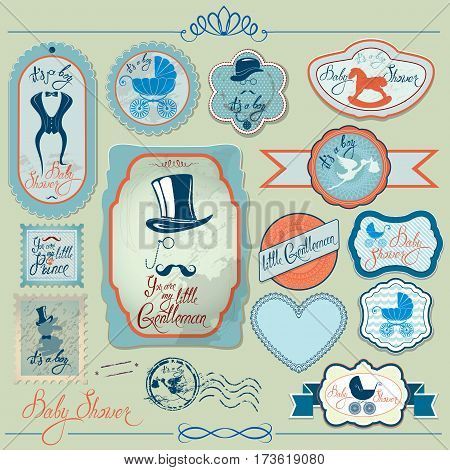 Baby boy shower set in retro style. Calligraphic text You are my little gentleman bow tie hat and mustache. Vintage elements for invitation card etc.