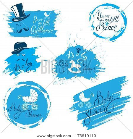 Baby boy shower set in grunge style. Calligraphic text You are my little gentleman / prince crown hat and mustache. Vintage elements for invitation card etc.