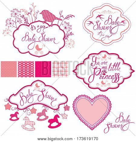 Set with frames - horses bird plants and stars calligraphic handwritten text isolated on white background. Newborn girl pink color elements. Seamless patterns collection. Design for baby shower card invitation etc.
