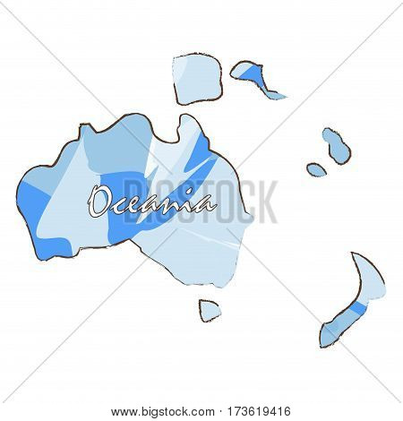 Isolated map of Oceania on a white background, Vector illustration