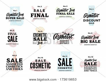 Sketch cosmetic logotypes set with beauty makeup products and advertising sale inscriptions isolated vector illustration