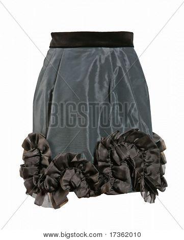 black silk mini skirt with a frill