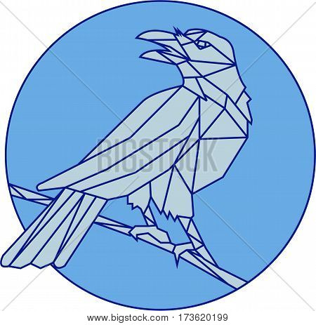 Mono line style illustration of a crow bird perched on a piece of wood looking to the side set inside cirlce on isolated background.