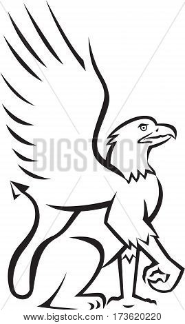 Illustration of a griffin griffon or gryphon sitting down viewed from the side set on isolated white background done in retro style.