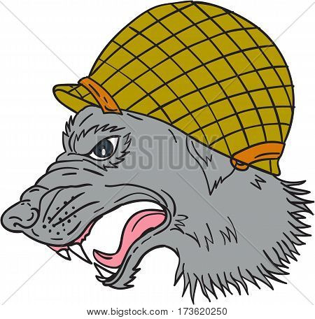 Drawing sketch style illustration of grey wolf head wearing world war two helmet growling viewed from the side set on isolated white background.