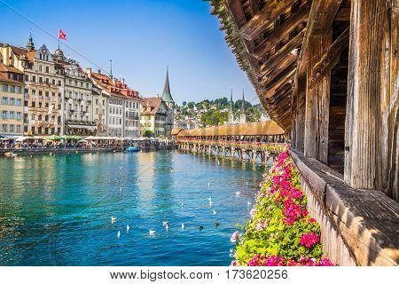 Historic Town Of Lucerne With Chapel Bridge, Switzerland