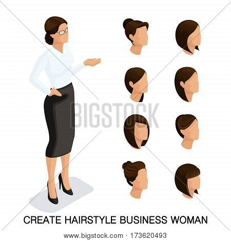 Trendy isometric set 2 women's hairstyles. Young business woman hairstyle hair color isolated. Create an image of the modern business woman. Vector illustration.