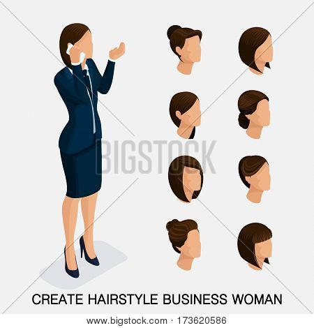 Trendy isometric set 3 women's hairstyles. Young business woman hairstyle hair color isolated. Create an image of the modern business woman. Vector illustration.