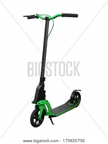 Side view of kick scooter with front brake isolated on white background