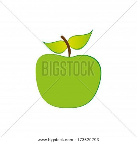 green apple fruit icon stock, vecor illustration design