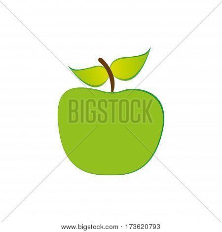 green apple fruit icon stock, vecor illustration design