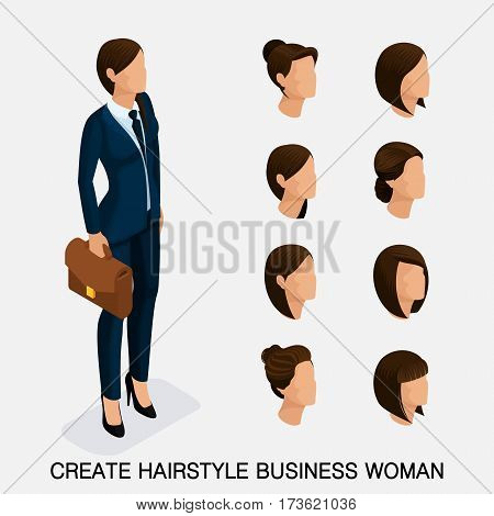 Trendy isometric set 6 women's hairstyles. Young business woman hairstyle hair color isolated. Create an image of the modern business woman. Vector illustration.