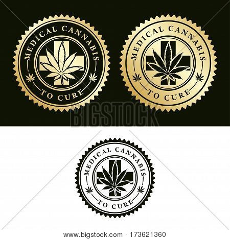 Illustration of medical cannabis as a set of icons.
