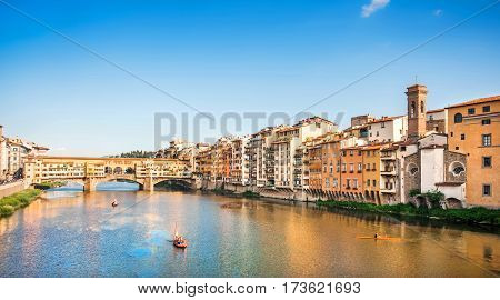 Ponte Vecchio With River Arno At Sunset, Florence, Italy