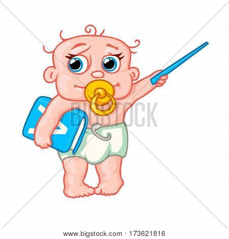 very cute newborn baby with a pointer and a book