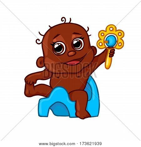very cute African-American child on a pot with a rattle