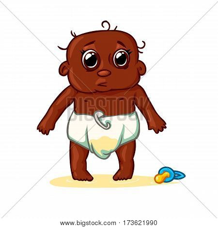 very cute African American child peed in diapers