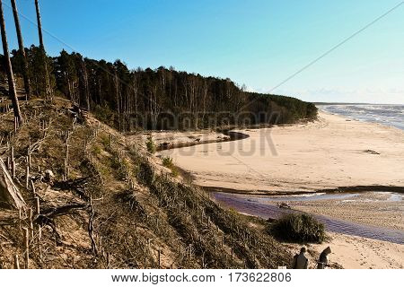 sunny day, the Baltic Sea, a top view of the beach, the water and dunes, a natural island surrounded by water, natural, nature, beautiful landscape