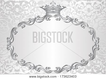 silver background with royal frame - vector illustration