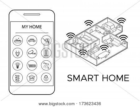 Monochrome smart home concept with remote mobile control of lightning video surveillance heating security systems vector illustration