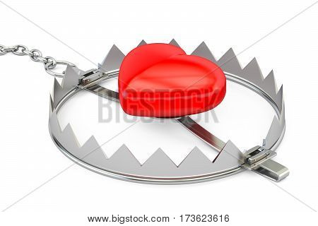 bear trap with red heart 3D rendering isolated on white background