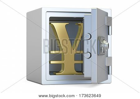 combination safe box with symbol of yen or yuan 3D rendering isolated on white background poster