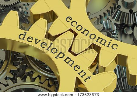Economic Development concept on the gearwheels 3D rendering