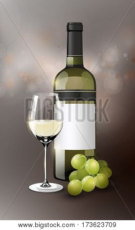 Realistic white wine template with grapes bunch full bottle and glass on blurred background vector illustration