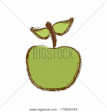 color apple fruit icon stock, vector illustration desing