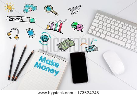 Make Money. Office desk table with computer