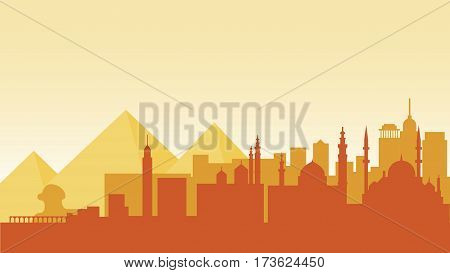 Stock vector illustration background silhouette architecture buildings and monuments town city country travel Egypt, Egyptian pyramids, Sphinx, Cairo, Egyptian Culture, deserts in flat style