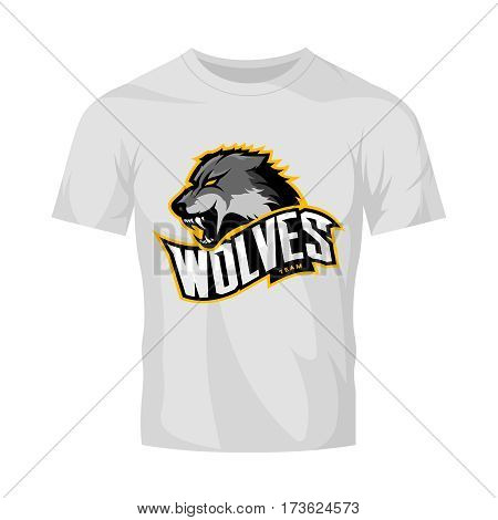 Furious wolf sport vector logo concept isolated on white t-shirt mockup. Modern web infographic predator team pictogram. Premium quality wild animal t-shirt tee print illustration.