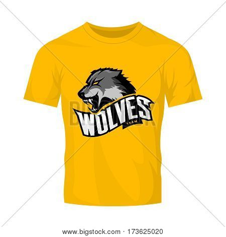 Furious wolf sport vector logo concept isolated on yellow t-shirt mockup. Modern web infographic predator team pictogram. Premium quality wild animal t-shirt tee print illustration.