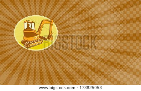 Business card showing Illustration of a construction digger mechanical excavator done in retro style .