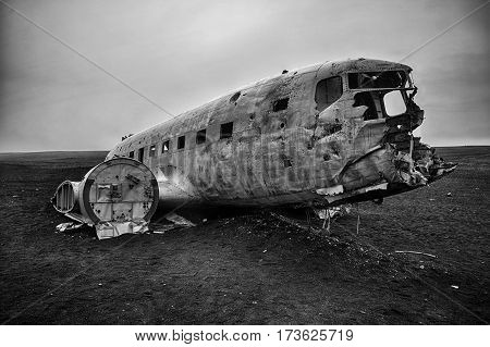 Old Abandoned airplane wreck in Iceland, Europe