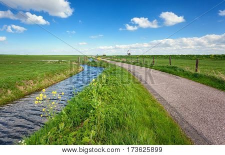 Beautiful Landscape With Green Grass Field, Road, Lighthouse