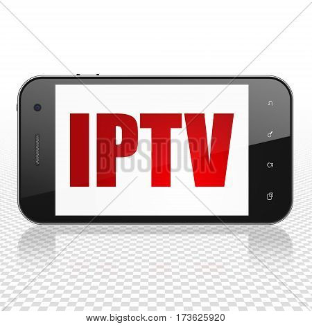 Web design concept: Smartphone with  red text IPTV on display,  Tag Cloud background, 3D rendering