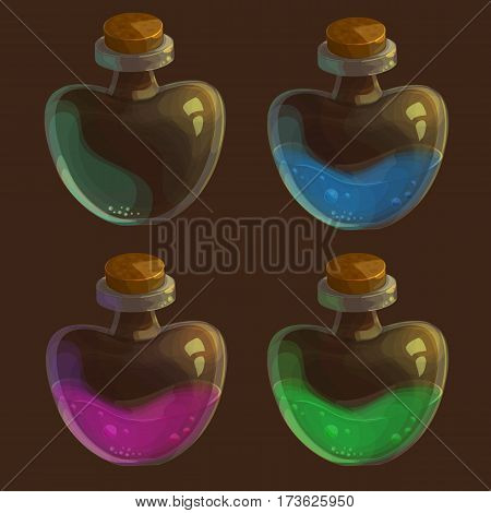 Vector set of four bottles with poison - in different colors and one empty