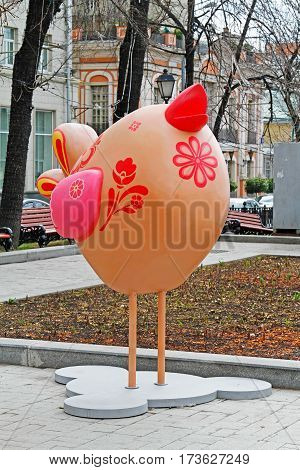 Moscow Russia - April 21 2016: The Easter bird as an art installation at the festival