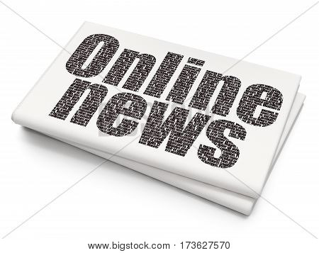 News concept: Pixelated black text Online News on Blank Newspaper background, 3D rendering