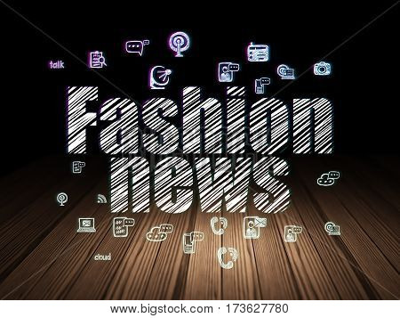 News concept: Glowing text Fashion News,  Hand Drawn News Icons in grunge dark room with Wooden Floor, black background